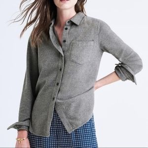 MADEWELL GRAY SHRUNKEN EXBOYFRIEND FLANNEL  TOP